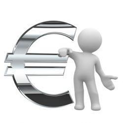 3d little human keep a chrom euro symbol